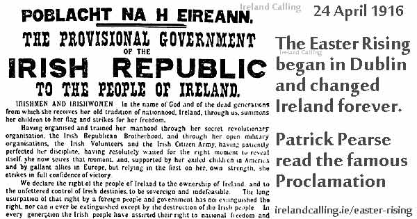 Proclamation of the Irish Republic. Image copyright Ireland Calling