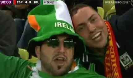 Irish and Spanish fans celebrate together - the true spirit of football