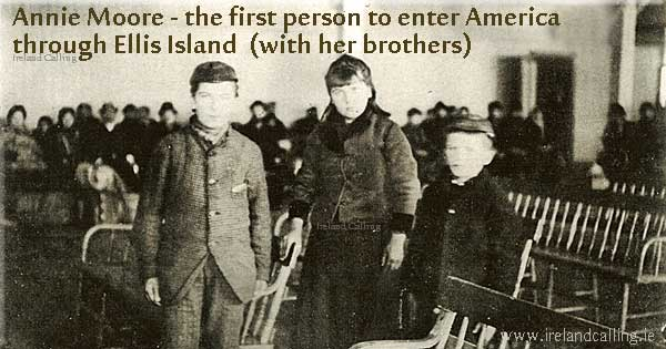 annie-moore-&-brothers-arrive-at--EIlis Island Image copyright  Ireland Calling