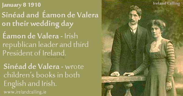1910 Wedding day of Sinéad and  Éamon de Valera. Image copyright Ireland Calling