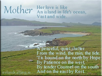 Mothers Day poem. Image copyright Ireland Calling