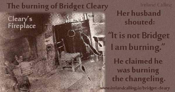 Bridget Cleary. Burned at the fireplace. Image copyright Ireland Calling