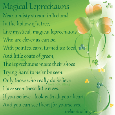 Magical Leprechauns poem. Image copyright Ireland Calling