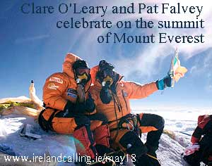 Clare-OLeary-and-Pat-Falvey-celebrate-on-the-summit-of-Mount-Everest