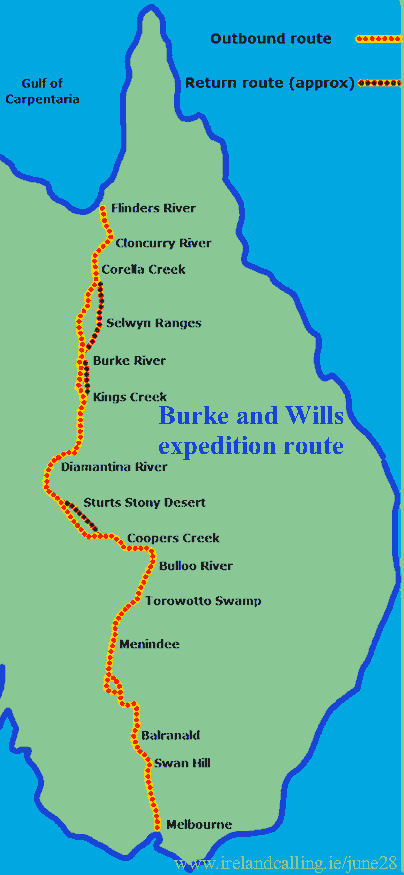 Burke and Wills expedition route. Photo copyright Rocketfrog CC3