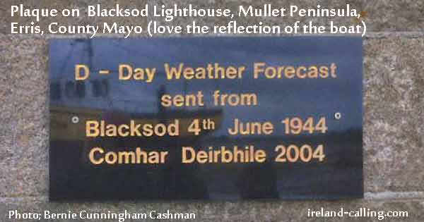 Plaque for weatherman, Ted Sweeney delivered a weather forecast. Image copyright Ireland Calling