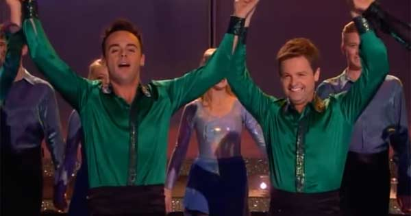 Ant & Dec after performance with Riverdance stars