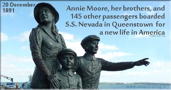 Annie Moore the first immigrant to be processed at Ellis Island, America Image copyright Ireland Calling
