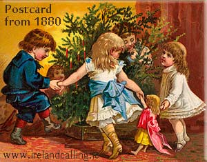 Christmas Postcard from 1880. Irish Christmas traditions. Image copyright Ireland Calling