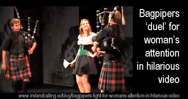 Bagpipers fight for woman's attention in hilarious video