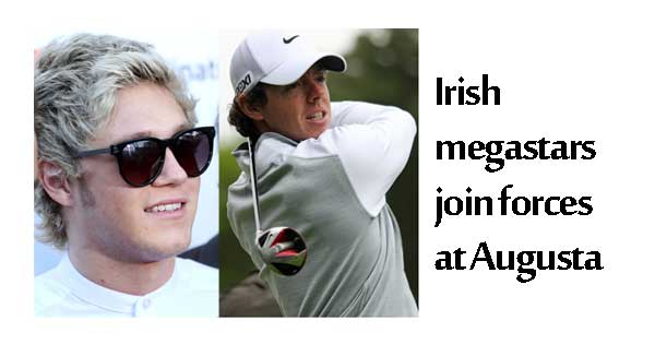 Irish superstars join forces at Augusta. Rory-McIlroy Photo Copyright - Mark Schierbecker CC2. Niall Horan Photo Copyright - Stemoc CC2