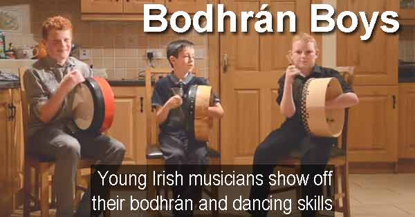 Bodhrán Boys - Young Irish musicians show off their bodhrán and dancing skills