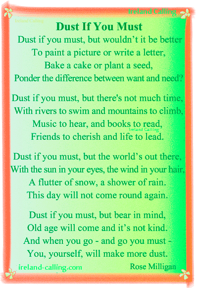 Favourite-poems-from-FB_Dust-if-you-must Image copyright Ireland Calling