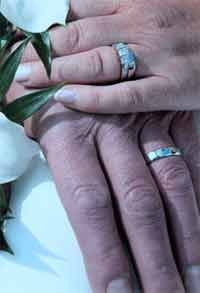 Suzanne D'Arcy and her husband's wedding rings