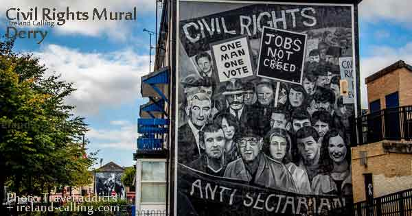Civil Rights mural Derry, Northern Ireland. Photo copyright travel addicts