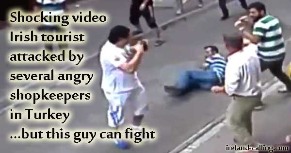 Irishman displays boxing skills after being attacked by angry shopkeepers