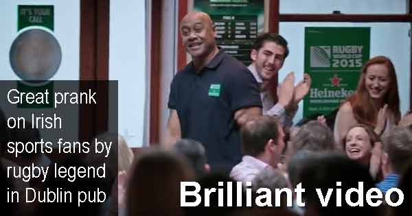 Brilliant video - Great prank on Irish sports fans by rugby legend Jonah Lomu in Dublin pub