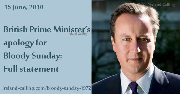 The Troubles Bloody Sunday David Cameron apologises