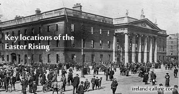 Key sites of the Easter Rising. Image copyright Ireland Calling