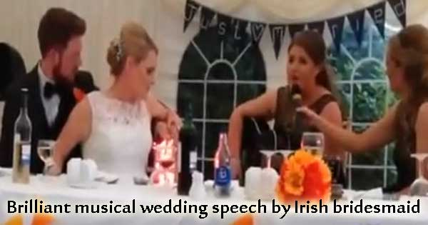Bride's sister has wedding guests in stitches with song