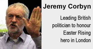 Jeremy Corbyn - Leading British politician to honour Easter Rising hero in London.Photo copyright Global Justice Now cc2