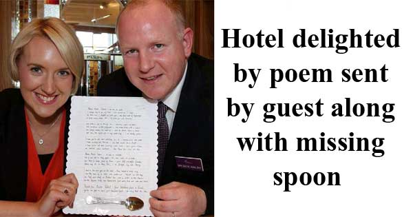 Guests sends spoon back to hotel with delightful poem. Photo from Wexford People