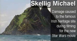 Skellig Michael - Damage caused to the famous Irish heritage site during filming for the new Star Wars movie.photo copyright Jerzy Strzelecki cc3