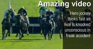 Amazing video - Hero jockey thinks fast as rival is knocked unconscious in freak accident