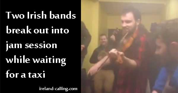 Irish bands jam session in cab office