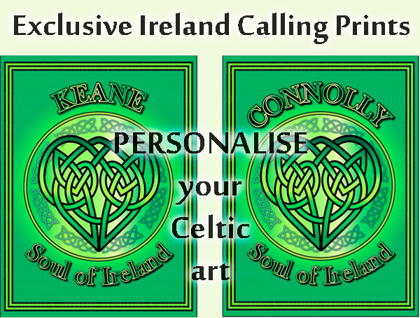 Personalised Celtic prints. Ireland Calling store
