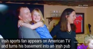 Irish sports fan appears on American TV and turns his basement into an Irish pub