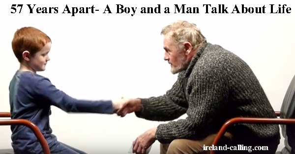 Old man and young boy talk about life