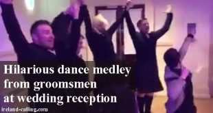 Groomsmen put on fantastic dance medley at wedding reception