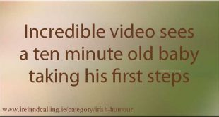 Incredible video sees a ten minute old baby taking his first steps