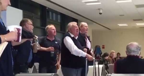 Folk band sing Dublin Airport boarding call to passengers