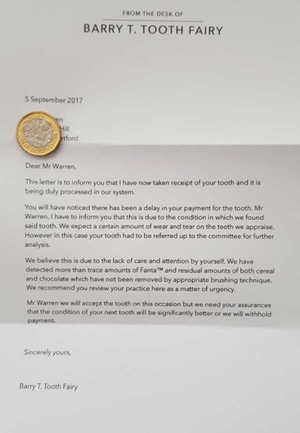 Father praised for parenting skills as son receives official letter from Tooth Fairy