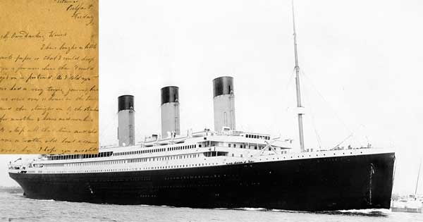 Letter written by Titanic victim to be sold at auction