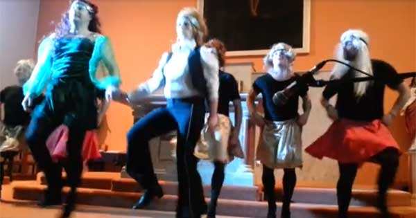 A group of fundraisers put on a hilarious money to raise money for a new church roof