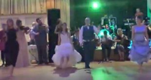 Bride performs Irish dance at her wedding reception with 25 professional dancers