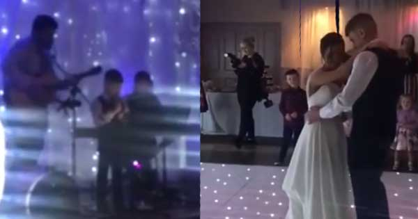 Seven-year-old boy sings for his mam and dad's first dance