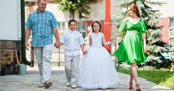 Family at kid's First Communion