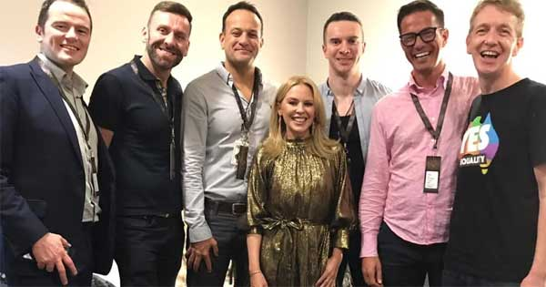 Kylie Minogue backstage with Leo Varadkar and friends