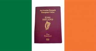 Irish passport on Irish flag