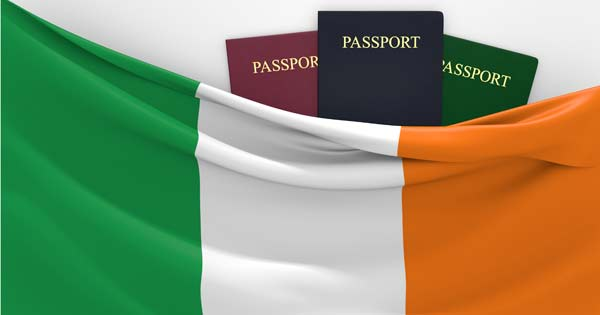 Irish flag and passports