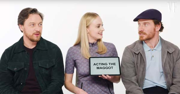 Michael Fassbender teaches Irish slang to Sophie Turner and James McAvoy