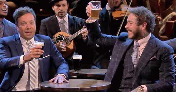 Post Malone joins Jimmy Fallon for traditional Irish sing-song