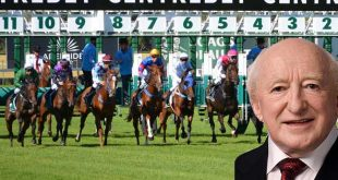 "President Higgins warns horse trainers to ""cop on"" about female jockeys. Photo copyright Irish Labour Party CC2"