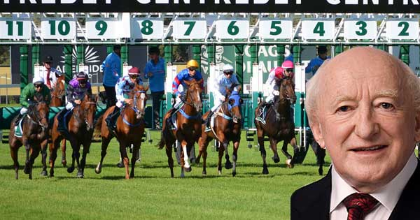 """President Higgins warns horse trainers to """"cop on"""" about female jockeys. Photo copyright Irish Labour Party CC2"""