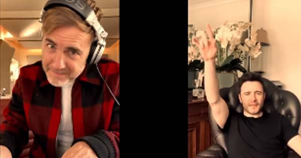 Gary Barlow and Shane Filan perform online duet