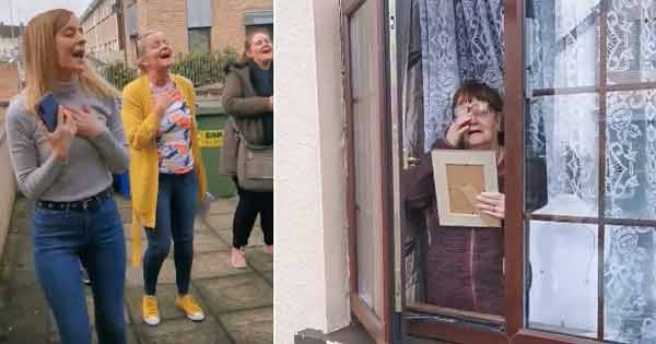 Irish sisters serenade their Mam through the front window on Mother's Day
